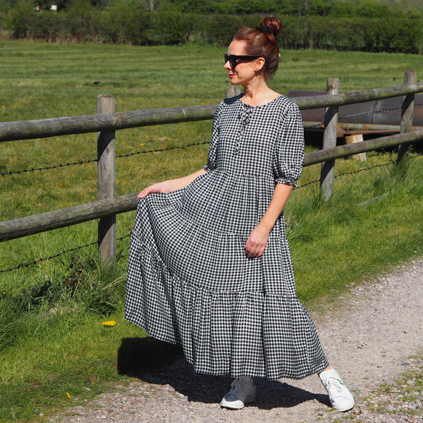 Gingham midi dress loose fit tiered silhouette with bow fastening