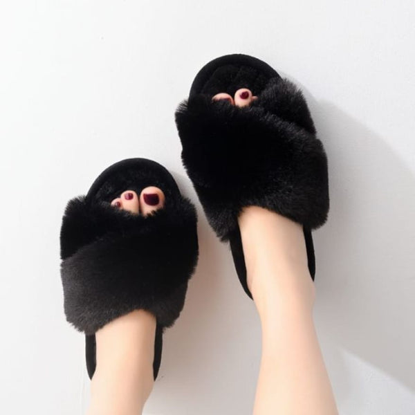 Black Faux Fur Crossover Slippers with Hard Sole
