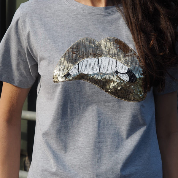 Grey sequin cotton lip logo t shirt