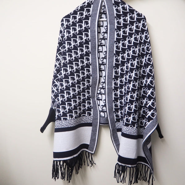 Printed Fringed Blanket Cape shawl Dior vibes