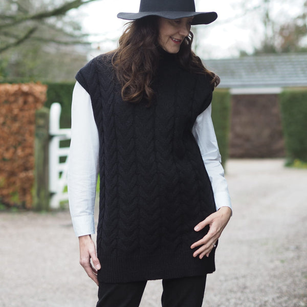 Black Roll Neck Sleeveless Tank Sweater