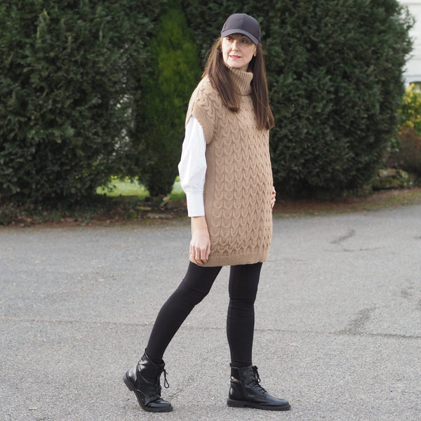 Long Oversized camel roll neck knitted vest tank sweater