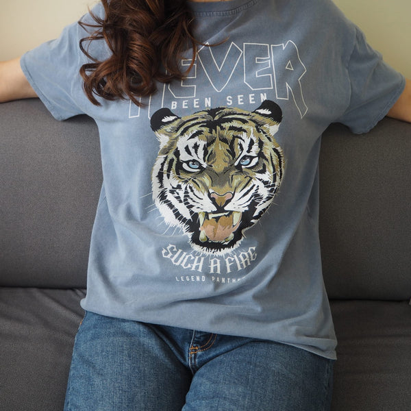 Indigo Blue Cotton Panther Tee