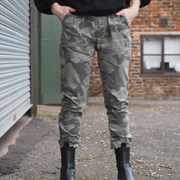 Khaki Stretch Camo Print Trousers