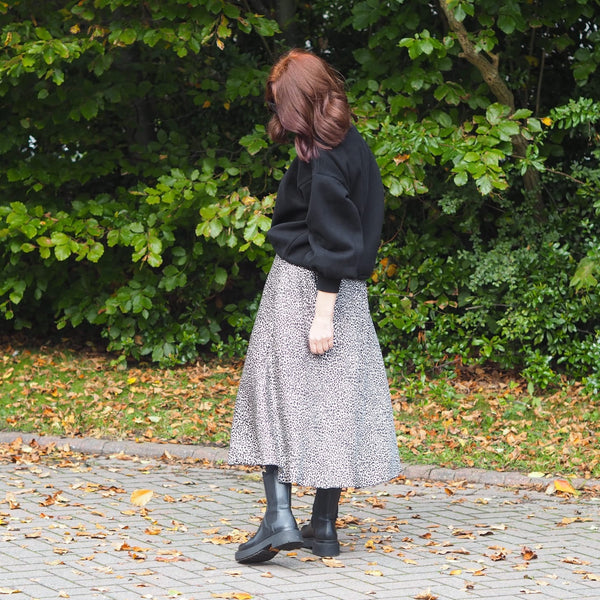 Light Leopard Print Midi Skirt