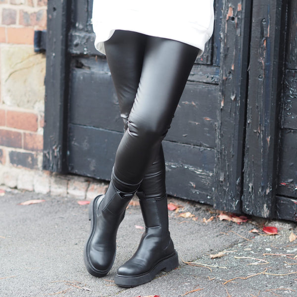 Matte Black Pleather Faux Leather Leggings