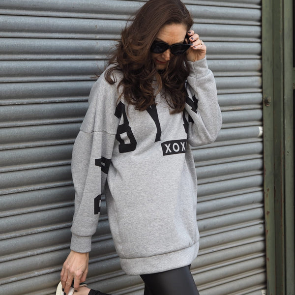 Grey Fleece Lined Logo Sweatshirt
