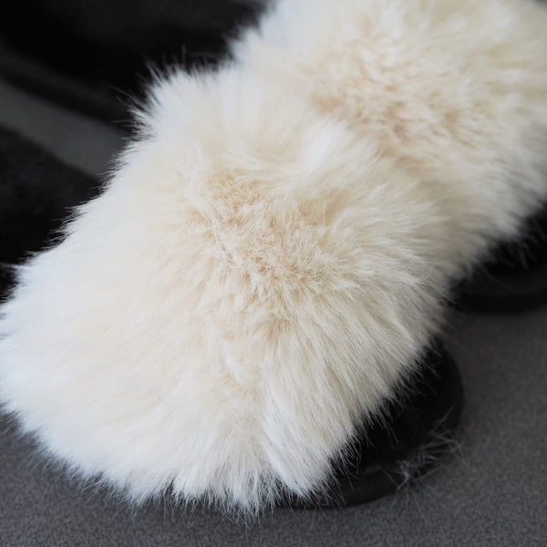 Cream Fluffy Mule slippers with hard sole