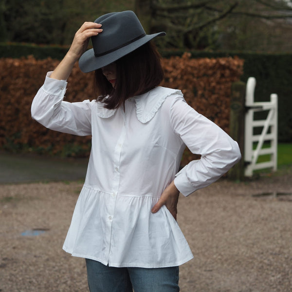 White Cotton Prairie Collar Shirt