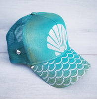 Mermaid Life Turquoise Iridescent Snapback Hat