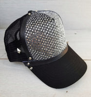 Silver Sequin Studded Cap