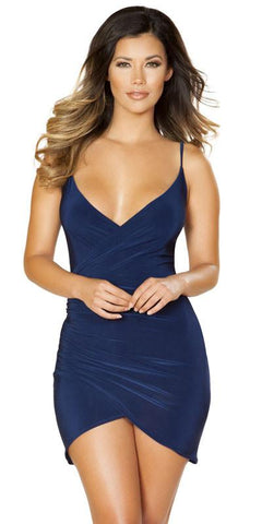 Sexy Ivanka Spaghetti Strap Vegas Dress with Overlapping Ruched Detail