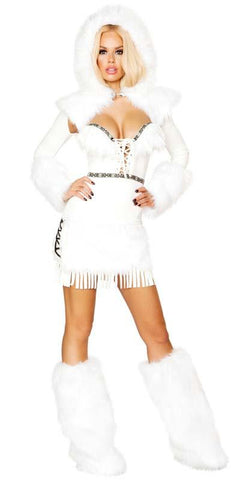 Sexy Arctic Ice Queen Faux Fur and Fringe Lace-Up Mini Dress with Hooded Shrug