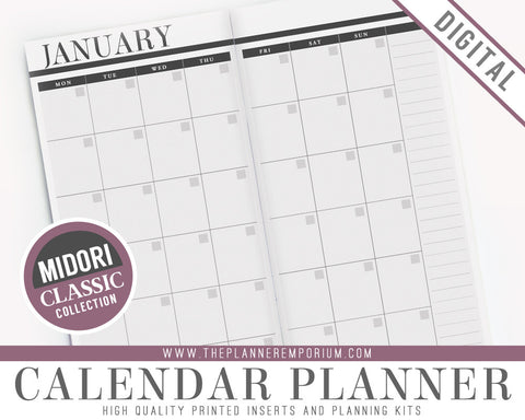 Midori Calendar Inserts | CLASSIC Collection - The Planner Emporium - 1