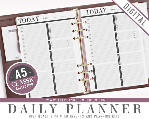 A5 Daily Planner Inserts | CLASSIC Collection - The Planner Emporium - 1