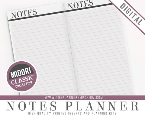 Midori Notes Planner Inserts | CLASSIC Collection - The Planner Emporium - 1