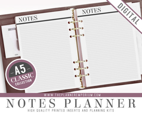 A5 Notes Planner Inserts | CLASSIC Collection - The Planner Emporium - 1