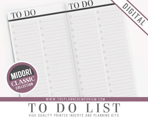 Midori To Do List Inserts | CLASSIC Collection - The Planner Emporium - 1