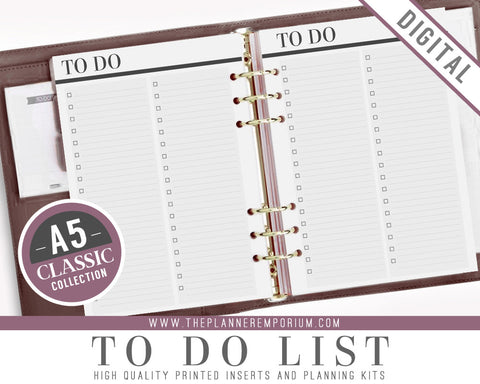A5 To Do List Inserts | CLASSIC Collection - The Planner Emporium - 1