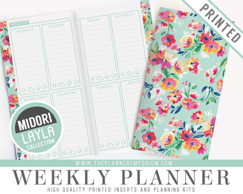 Midori Weekly Planner Inserts | LAYLA Collection - The Planner Emporium - 1