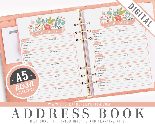 A5 Address Book Inserts | ROSA Collection - The Planner Emporium - 1