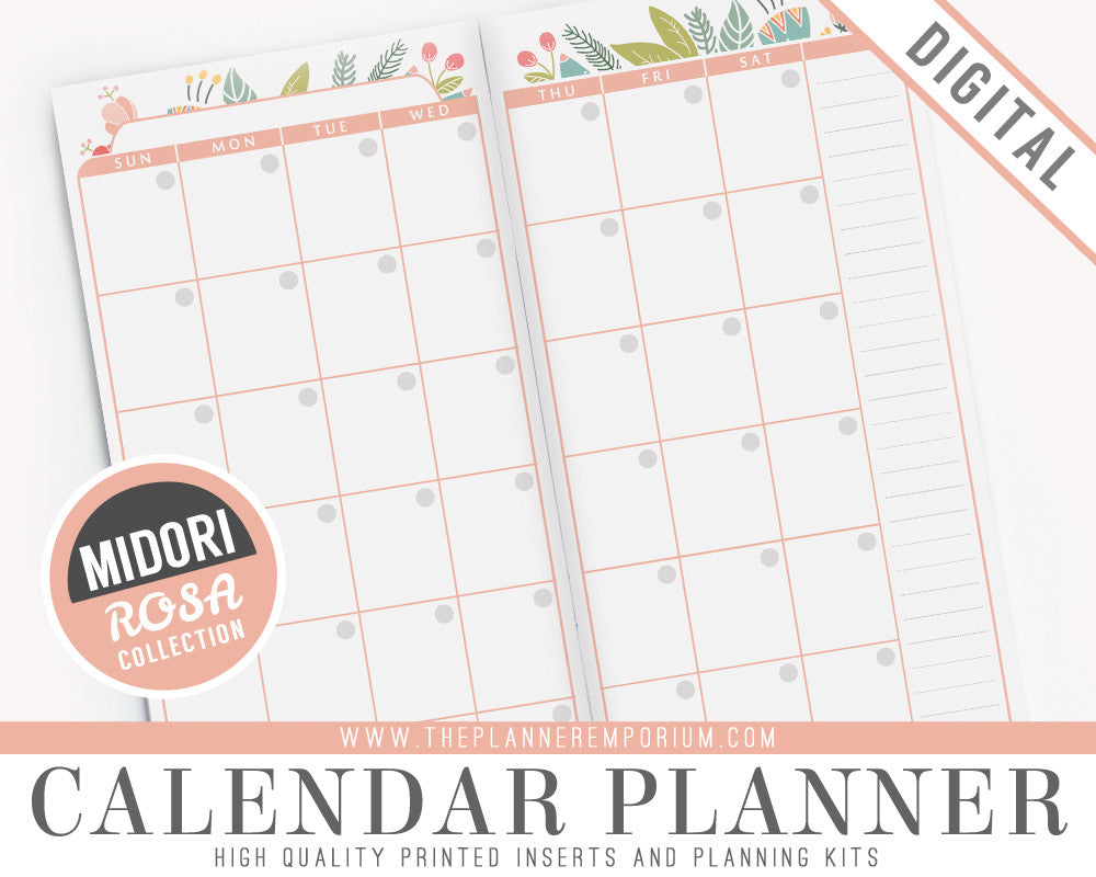 Planner Calendar Inserts : Midori calendar planner inserts rosa collection the
