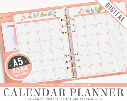 A5 Calendar Planner Inserts | ROSA Collection - The Planner Emporium - 1