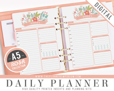 A5 Daily Planner Inserts | ROSA Collection - The Planner Emporium - 1
