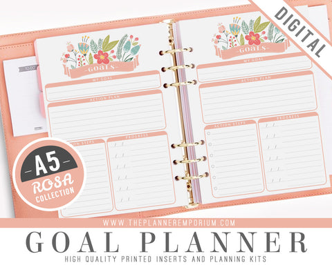 A5 Goal Planner Inserts | ROSA Collection - The Planner Emporium - 1