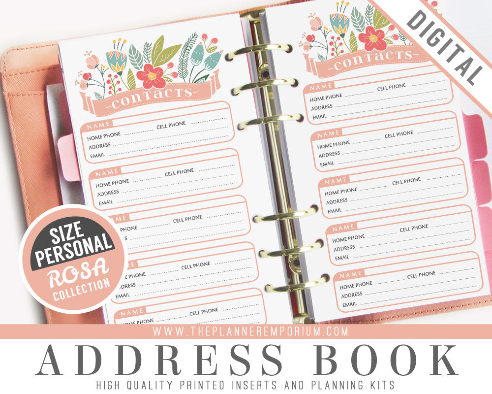 personal address book inserts rosa collection the planner emporium