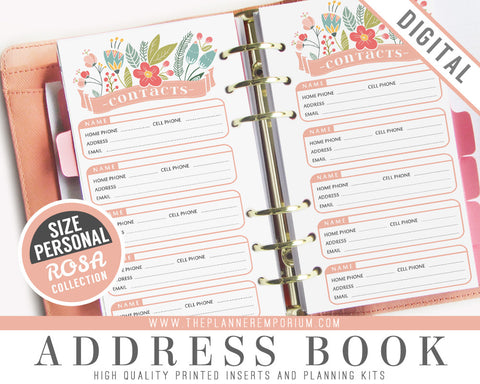 Personal Address Book Inserts | ROSA Collection - The Planner Emporium - 1