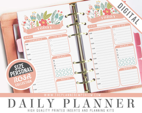 Personal Daily Planner Inserts | ROSA Collection - The Planner Emporium