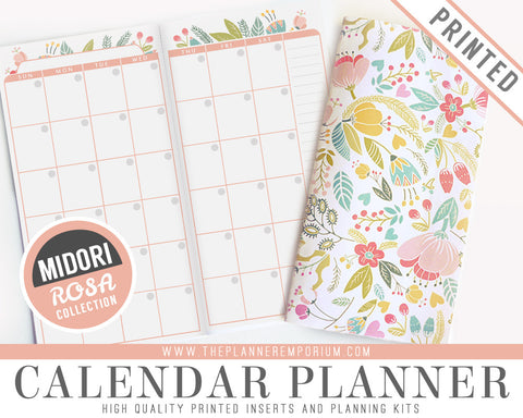 Midori Calendar Planner Inserts | ROSA Collection - The Planner Emporium - 1