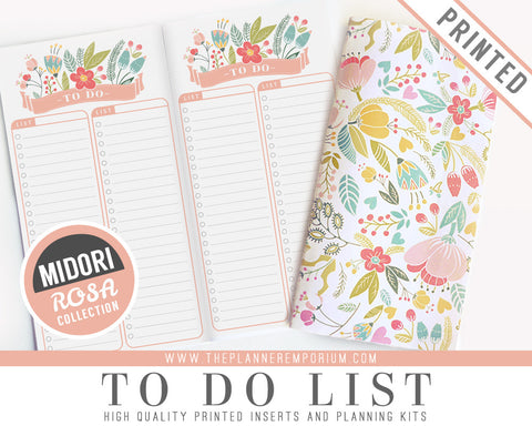 Midori To Do List Inserts | ROSA Collection - The Planner Emporium - 1
