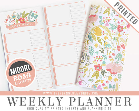 Midori Weekly Planner Inserts | ROSA Collection - The Planner Emporium - 1