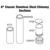 CHIMNEY,1PC,8''X48'',SS,TUBE,12/11,CL/PB