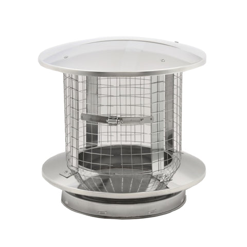 "Chimney Rain Cap, Spark Arrestor, Stainless Steel 8"" ID"