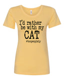 I'd Rather Be With My Cat Crew Neck Tee