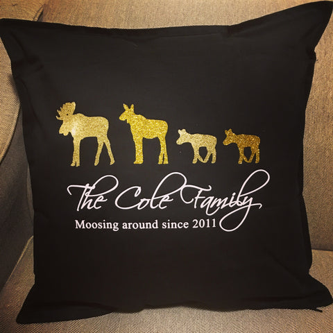 Moose Family Pillow Cover