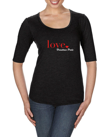 Love - Ladies Deep Scoop Half Sleeve