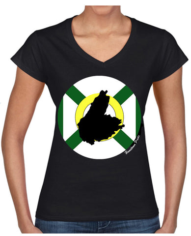 Women's V-Neck Cape Breton Hometown Pride T-Shirt - Driftwood Memories