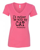 I'd Rather Be With My Cat V-Neck Tee