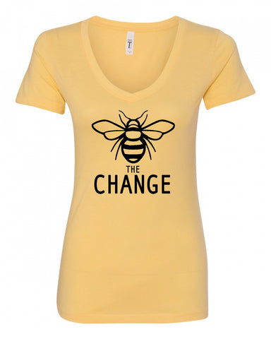Bee The Change Ladies V-Neck Tee