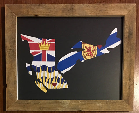 11 x 14 British Columbia & Nova Scotia Hometown Pride - Driftwood Memories