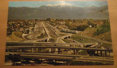 Vintage The Junction Of The San Bernardino & Long Beach Freeways California Postcard
