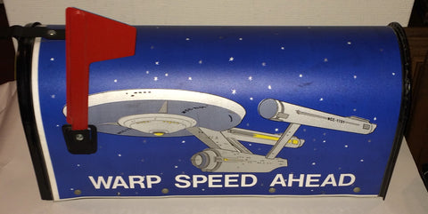 Vintage Star Trek U.S.S. Enterprise Warp Speed Ahead Mailbox Bacova