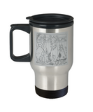 Dog & Cat Staring At Monster In Food Dish Travel Mug