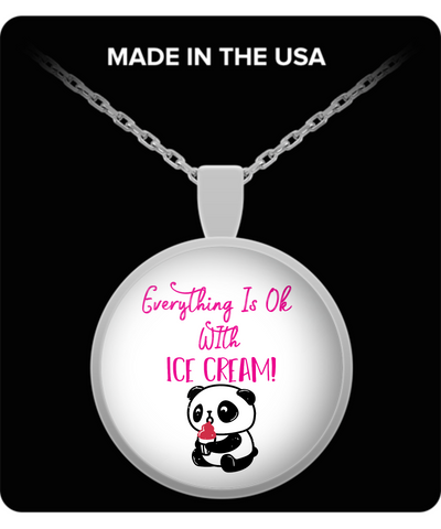 Everything Is Ok With Ice Cream Panda Bear Pendant Necklace