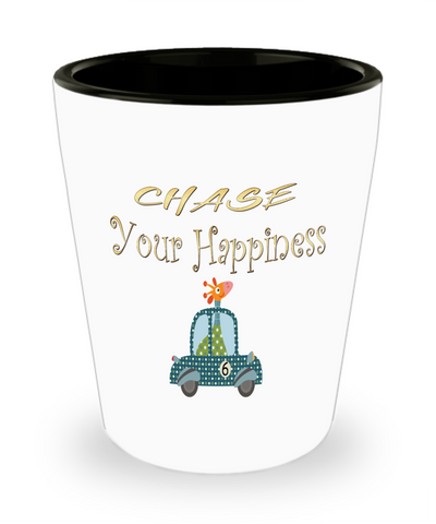 Chase Your Happiness Giraffe In Car Shot Glass
