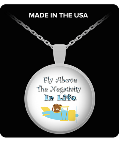 Fly Above The Negativity In Life Bear In Plane Pendant Necklace